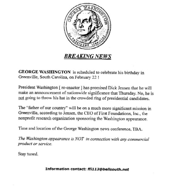 George Washington scheduled to celebrate hisbirthday