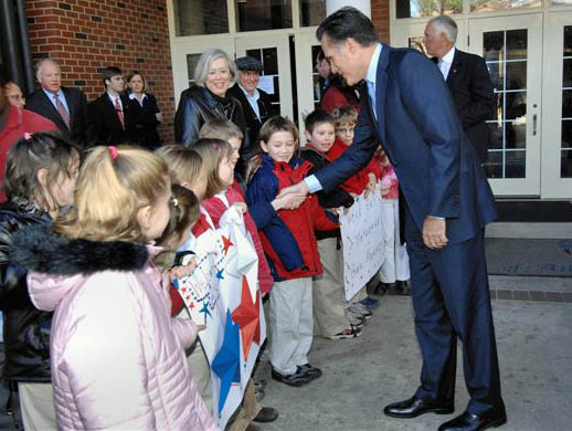 Romney shaking hands with children in Aiken (photo)